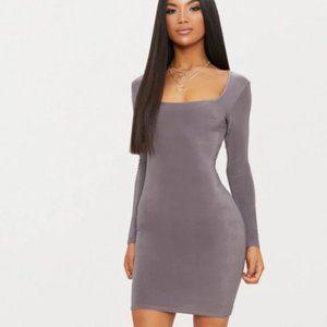 NWT – Grey Slinky Square Neck Bodycon Dress